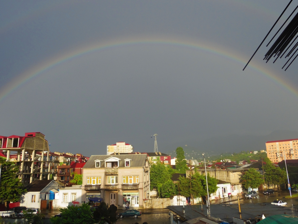 Batumi double rainbow. August, 2015. Looking out of my apartment's window.