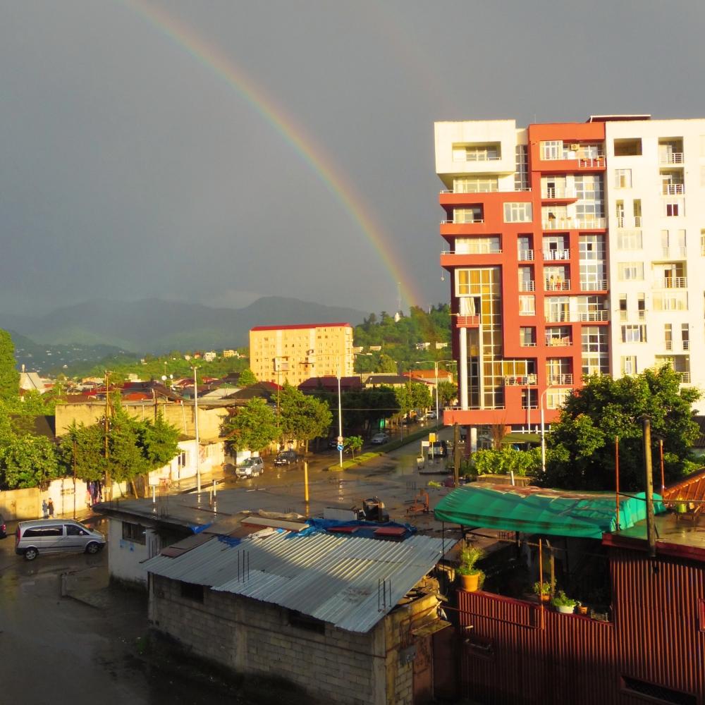 Looking to the east. Rainbows. Lesser Caucasus Mountains, Adjara, Georgia.